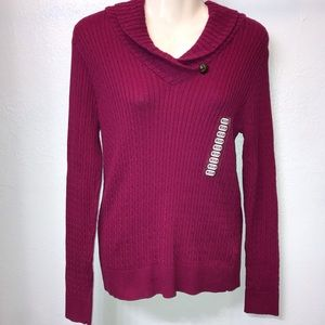 NWT Jeanne Pierre long Sleeve cable knit sweater
